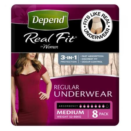 DEPEND REALFIT UNDERWEAR WOMEN MED 8