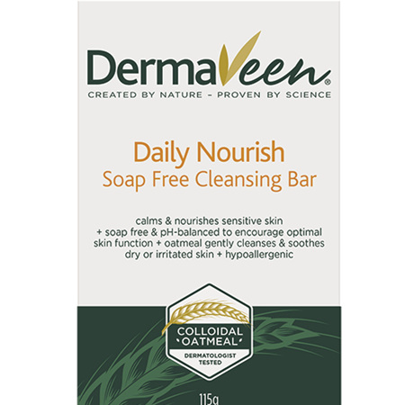 DermaVeen Daily Nourish Soap-Free Cleansing Bar 115G