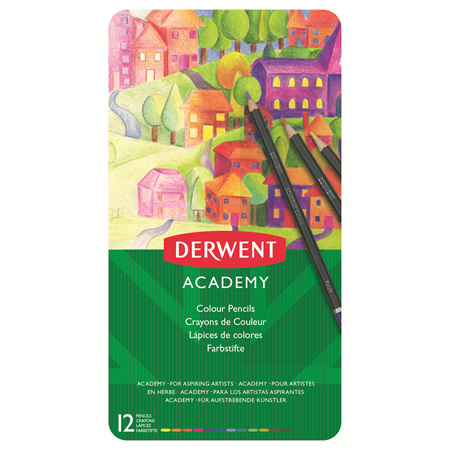 Derwent Academy Coloured Pencils - Tin 12