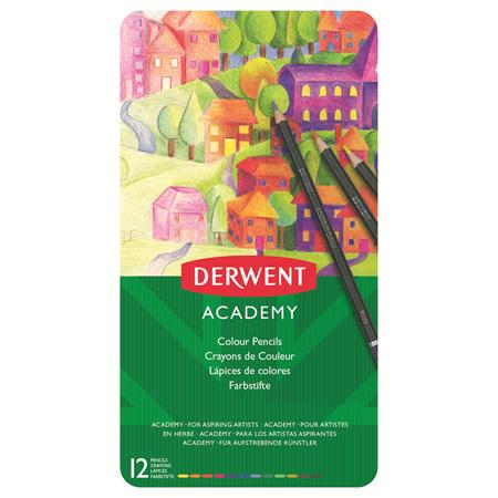 Derwent Academy Coloured Pencils - Tin 12