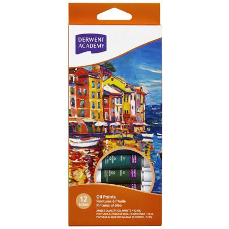 Derwent Academy Oil Paint 12ml - Pack 12