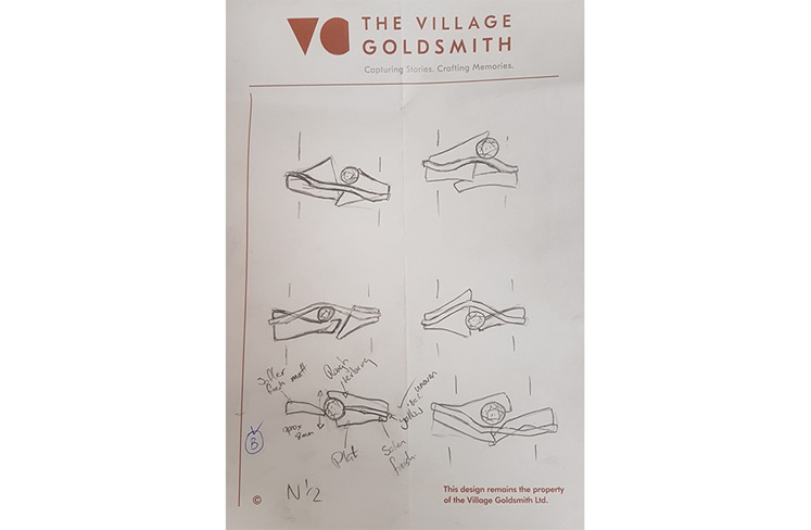 Design Concept Sketches for Contemporary Custom Bespoke Engagement Ring