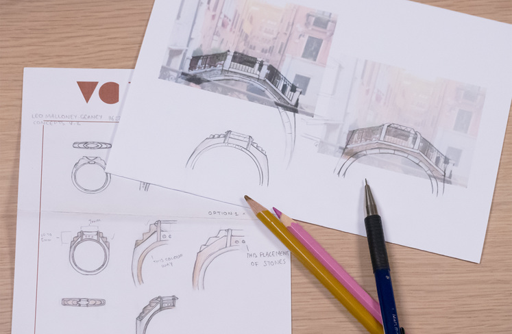 Design sketches of Venice canal bridge inspired diamond engagement ring