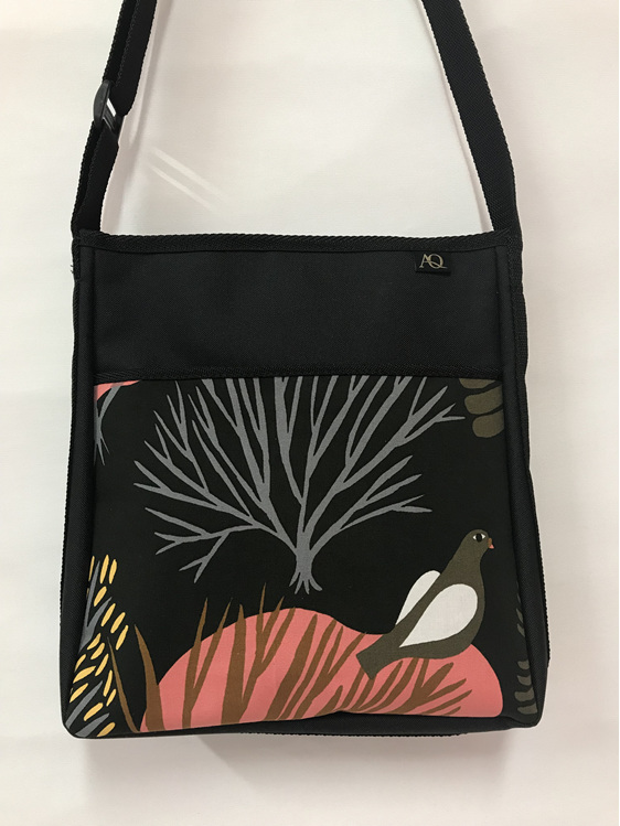 Designer Brill handbag with bird fabric.  A nature lovers bag.
