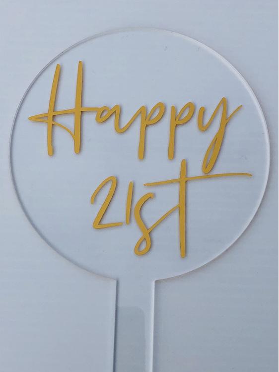 Designer Topper /Happy 21st /1Script   Gold