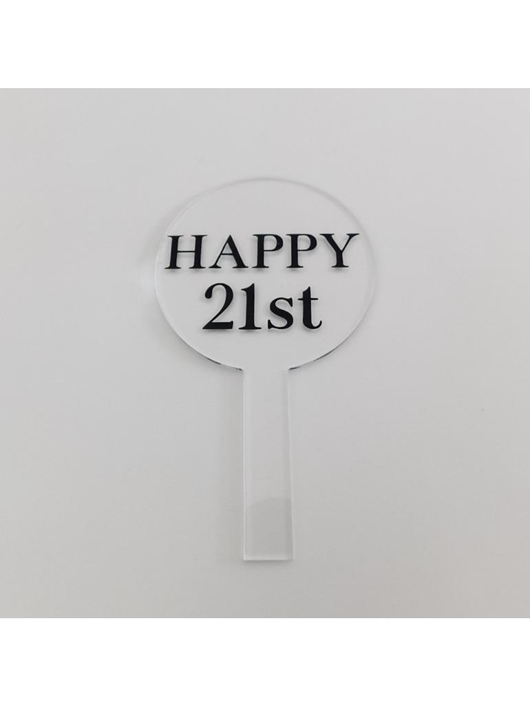 Designer Topper/ Happy 21st/1Plain Font Black
