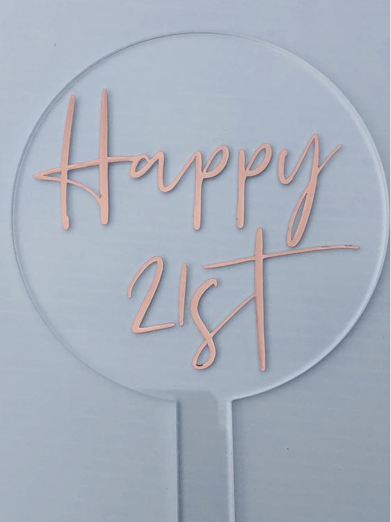 Designer Topper Happy 21st/3Script Rose Gold