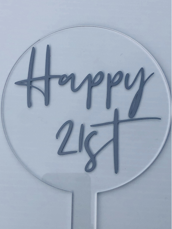 Designer Topper/Happy 21st/2 Silver