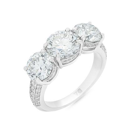 Detailed Diamond Three Stone Ring