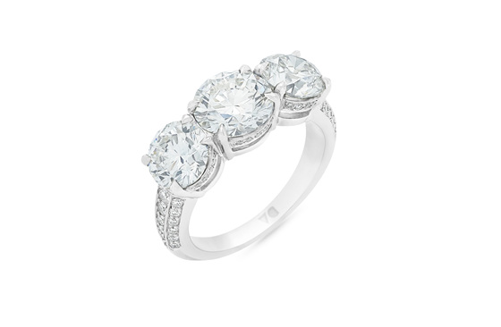 Detailed Diamond Three Stone Ring