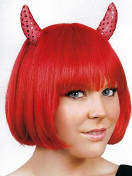 Devils wig - red with horns