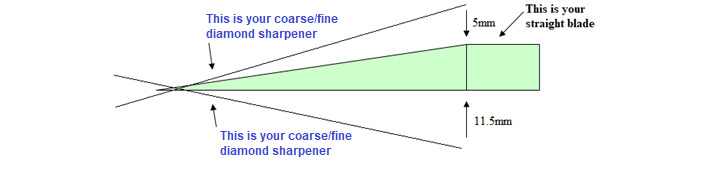 Diagram of sharpening a pruning tool blade