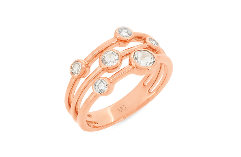 diamond and morganite rose gold ring