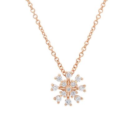 Diamond and Rose Gold Snowflake Pendant