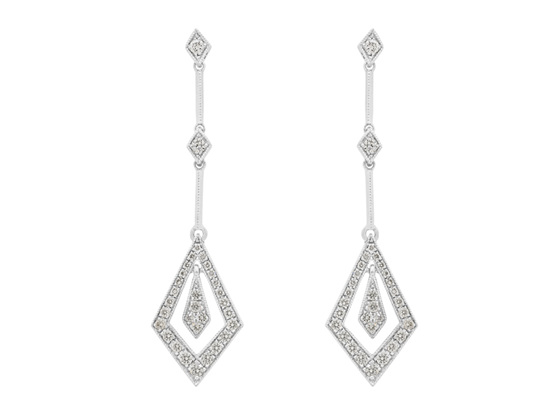 Diamond Drop Art Deco Earrings