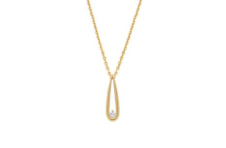 Diamond Drop Yellow Gold Pendant
