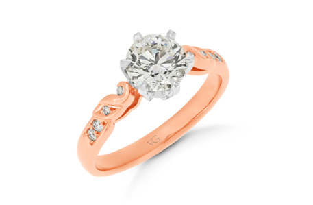 Filigree Diamond Shoulder Engagement Ring
