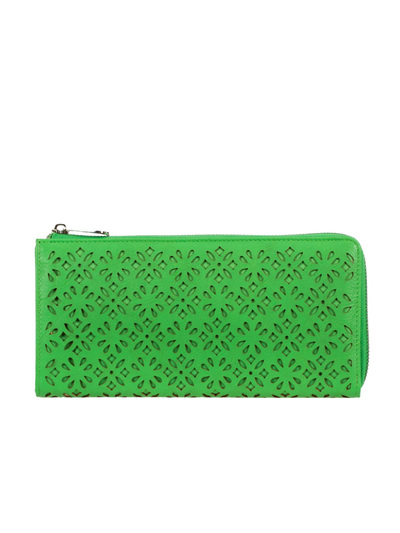 DIAMOND FLOWER CUTOUT REC HALF ZIP WALLET GREEN