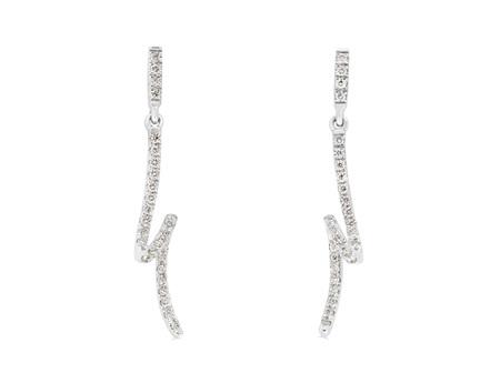 Diamond Loop Ribbon Earrings