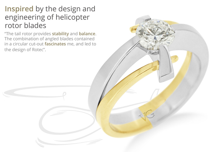 Diamond ring design inspired by the engineering of rotor blades