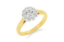 Diamond Scalloped Halo Ring