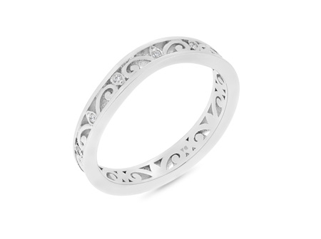 Diamond Set Filigree Pattern Wedding Ring