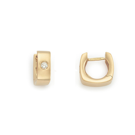 Diamond Set Gold Huggie Earrings