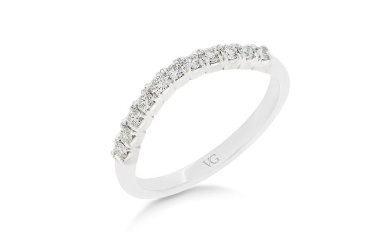 Diamond Set Shaped Wedding Ring