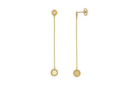Diamond Set Yellow Gold Drop Earrings