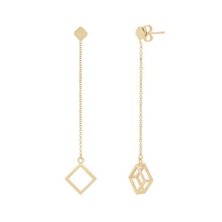 Diamond Shaped Drop Stud Gold Earrings