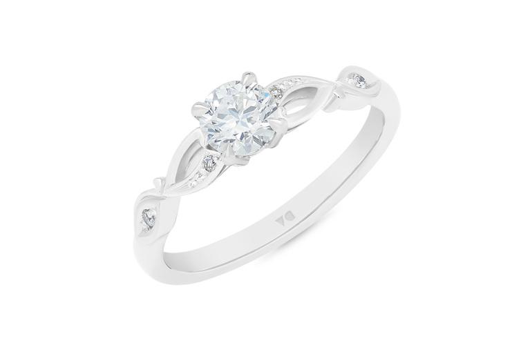 Diamond Solitaire, Diamond Engagement Ring, Engagement Ring 18ct white gold plat