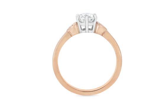 Diamond solitaire engagement ring 18ct rose gold platinum new zealand koru