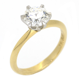 Diamond Solitaire Engagement Ring, 18ct Yellow Gold and Platinum
