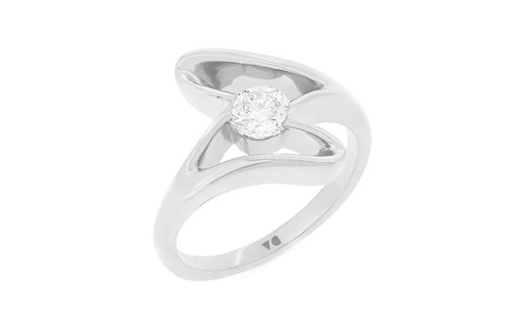 Diamond Solitaire Engagement Ring, Fluvial The Sandrift Collection