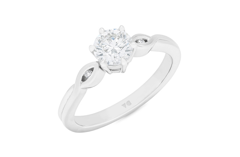 Diamond solitaire engagement ring in Platinum or 18ct white gold