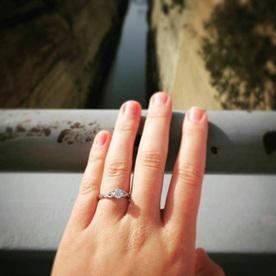 Diamond solitaire filigree engagement ring