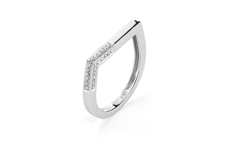 Diamond Geometric Stacking Ring The