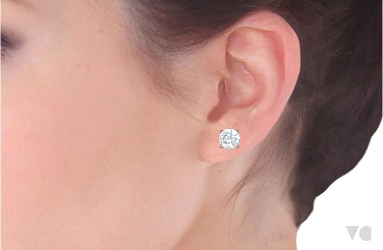 Diamond stud earring on ear The Village Goldsmith Wellington NZ