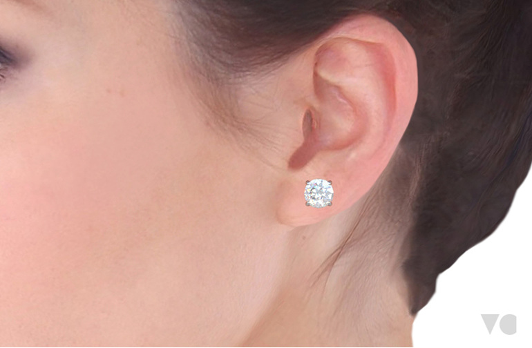 Diamond stud earring on ear The Village Goldsmith Wellington NZ