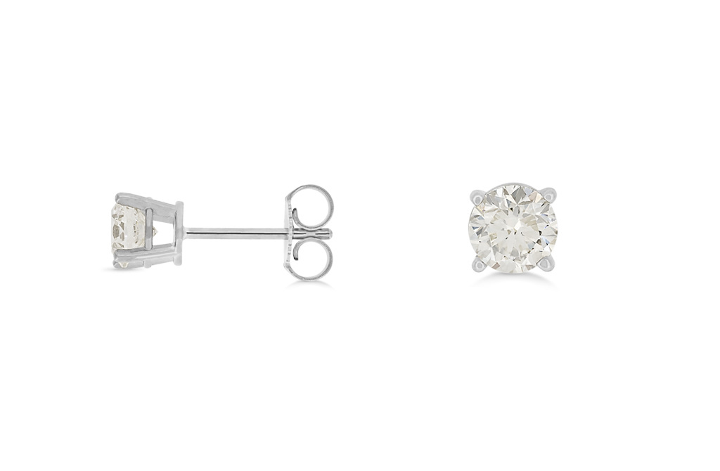 dimond earrings new round itm diamond white stud dia aa gold ebay