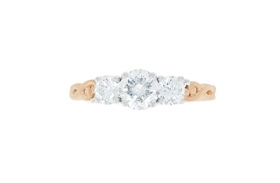 diamond three stone ring design, engagement ring, custom ring, rose gold, nz