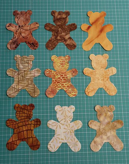 Die Cut Batik Teddy Bears (6 Pack)