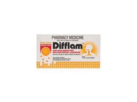 DIFFLAM Anti-inflammatory Lozenge Lemon Honey Sugar Free 16
