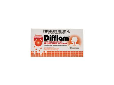 DIFFLAM Anti-Inflammatory Lozenge Orange Sugar Free 16