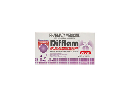 Difflam Cough Lozenges Blackcurrant S/F 24