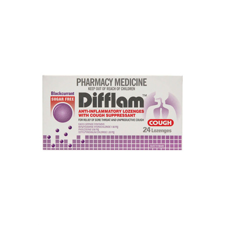 Difflam Cough Lozenges Blackcurrant Sugar Free 24