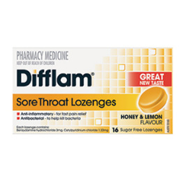 DIFFLAM LOZENGES HONEY & LEMON SUGAR - FREE 16 PACK