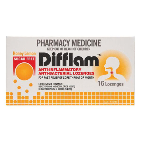 Difflam Lozenges Lemon & Honey Sugar Free 16