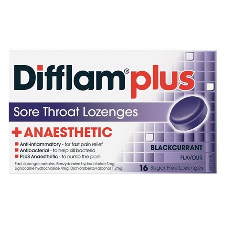 Difflam Plus Anaesthetic Blackcurrant Lozenges 16
