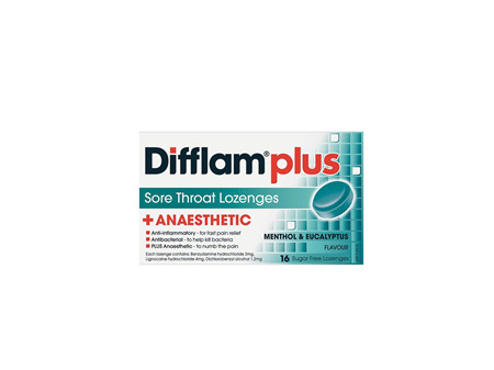 DIFFLAM Plus Anaesthetic Eucalyptus and Menthol 16 Lozenges